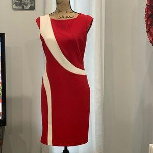 Chetta B. red white color block dress size 8